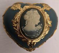 San Francisco Music Box Company Heart Shaped Trinket/Music Box Cameo Blue