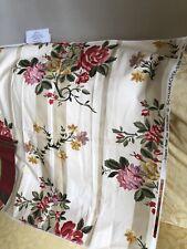 "Schumacher Fabric Stencil Rose Cotton Floral Stripe 26.5x26"" Screen Print"