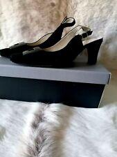 VAN DAL ELEGANT BLACK SUEDE SLING BACK SANDALS UK SIZE 6 - STILL IN BOX