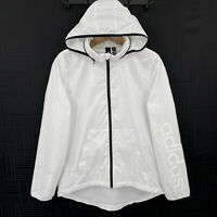 Adidas Womens M 12-14 White Zip Up Hooded Windbreaker Jacket