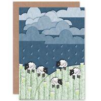 Highland Hill Sheep Craft Animals Birthday Blank Greeting Card With Envelope