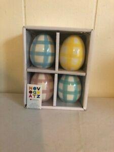 Novogratz Plaid Ceramic Easter Eggs Set of 4 Blue, Yellow, Pink Farmhouse
