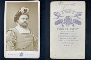 Pierre Petit, Paris, le ténor Edmond Vergnet Vintage cdv albumen print. CDV,