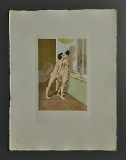 Peter Fendi 1796-1842 Lithographie 30x40 Akt Erotik Biedermeier Nude Lovers Paar
