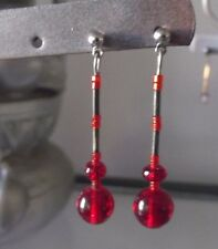 HANDCRAFTED RUBY RED GLASS BEAD SILVER TUBE DROP EARRINGS, BRAND NEW, AUSTRALIA