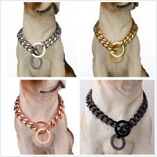 "Pet Dog Stainless Steel Curb Cuban Link 10-19MM Dog Chain Collar Choker 12''-32"""