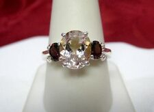 925 STERLING SILVER YELLOW TOPAZ AND GARNET GEM STONES CROWN RING SIZE 10.25