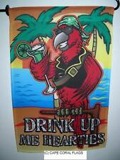 """Drink Up Me Hearties Pirate Garden Flag 12""""X18"""" Sleeved Polyester Flag"""