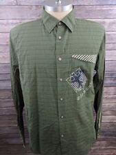 New Marithe Francois Girbaud Mens Green Striped Button Down Casual Shirt XL