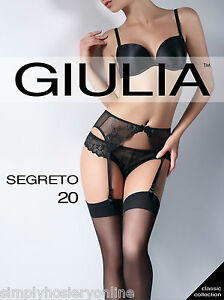 Giulia Segreto 20 Denier Sheer Stockings Plain Soft Welt Tops - Belt Required
