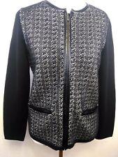 Talbots Women's Petite Cardigan Sweater Black 100% Merino Wool Full Zip size S