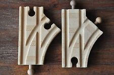 THOMAS WOODEN RAILWAY - Pair curved split switch track turn out short- Excellent