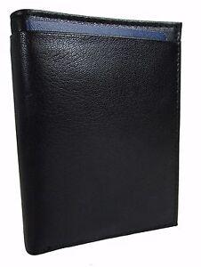 New Buxton Men's Leather RFID Passport Wallet, Black