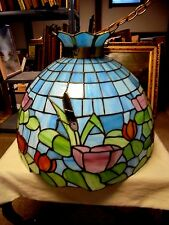 """HUGE Vintage Tiffany Style Lead Glass Floral Swag Plug In Hanging Lamp 20"""""""