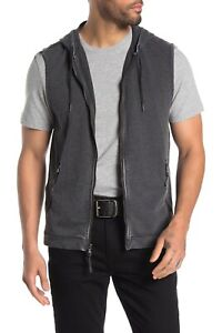 John Varvatos Star USA Men's Cotton Blend Hooded Zip Vest in METAL GREY Size L