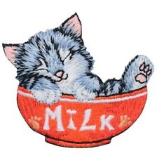 "Kitty Cat Applique Patch -  Gray Kitten, Bowl of Milk 2-1/8"" (Iron on)"