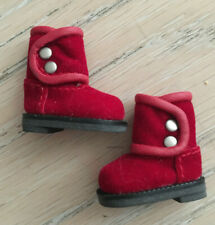 red suede Cool Cat ankle boots for Blythe doll, brand new