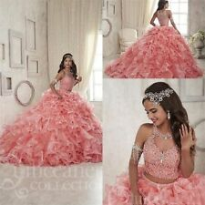 Two Piece Pink Quinceanera Dress Sweet 16 Ruffles Pageant Prom Ball Gown Custom