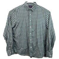 UNTUCKit Mens Green/ Blue Plaid Long Sleeve Button Up Shirt Size L Large EUC