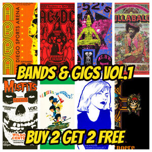 Band & Music Gig Posters Vol 1 Vintage Grunge Rock Blues Pub Bar Decor Wall