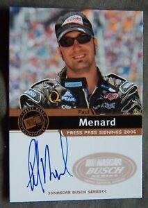 Nascar Star Paul Menard 2006 Press Pass Signings Auto Card