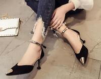 New Womens Pointed Toe Ankle Strap Pumps Stiletto Sandals High Heel  Party Shoes