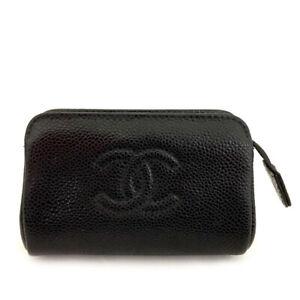 CHANEL CC Logo Black Caviar Skin Pochette Cosmetics Pouch /82312
