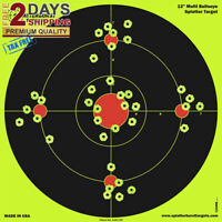 "PREMIUM Shooting Targets 12"" Burst Bright Reactive Paper Target Gun Rifle Pistol"