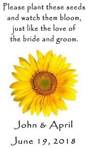 Wedding Favor Seed Packets Personalized Sunflower Custom Favors Set of 100