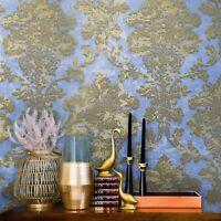 Wallpaper blue gold brass Metallic Textured Victorian vintage rustic Damask roll