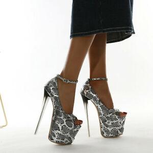 Women Platform Pumps Peep Toe Snakeskin Ankle Strap Super High Heels Dress Shoes