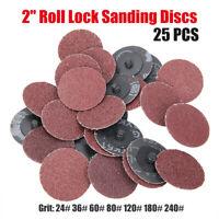 """50Pcs 2"""" 50mm 36 Grit Roloc Roll Lock Surface Sanding Grinding Discs Abrasive AU"""