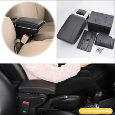 Car Console Central Armrest  7 USB Ports PU Leather Cover One-click Raise Black