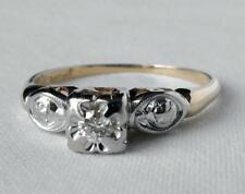 Maltese Cross Promise Engagement Ring Vintage 14K Gold Diamond Illusion Flower