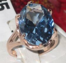 1367 LONDON BLUE TOPAZ OVAL ROSE GOLD FILLED STEEL WOMENS RING 7CT