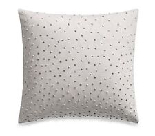BARBARA BARRY Textured Knot Square Feather TOSS PILLOW Quicksilver Soft Grey