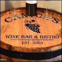 Wine Bar & Bistro - Personalized Wood Quarter Barrel Lazy Susan, Home or Bar
