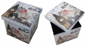 Taburete Caja de Almacenamiento Reposapiés Banco Plegable Londres París Ee.uu.