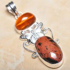"""Handmade Obsidian Mahogany Jasper 925 Sterling Silver Pendant 2.5"""" #P11217"""