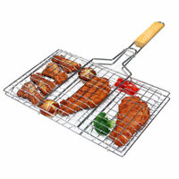 Barbecue Grilling Basket Grill BBQ Net Steak Meat Fish Vegetable Holder Tool S/L