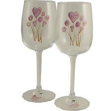 60th Wedding Anniversary Gift Pair of Wine Glasses Flower