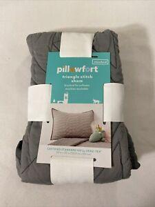 Pillowfort Triangle Stitch Pillow Sham (Standard) Gray New