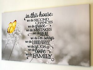 FAMILY QUOTE YELLOW BUTTERFLY GREY CANVAS  PICTURE 18 X 32 INCH