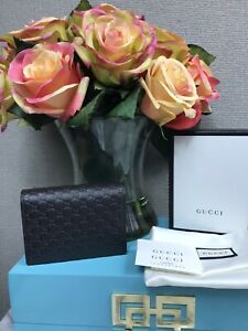 NIB Gucci Microguccissima GG Logo Margaux Dark Brown Card Case 544474 Wallet
