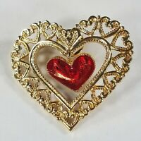 Heart Brooch Gold Tone Filigree Double Red Enamel Dangle Charm Pin Valentines