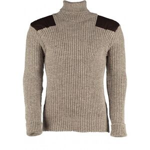 100% Wool Ribbed Jumper. Roll Neck with Patches. OUTDOOR,UNIFORM,SECURITY,#12999