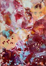 """TABLEAU ABSTRAIT ORIGINAL à la cire, peinture signée HZEN """"SOLILOQUE"""" 21x30 cm"""