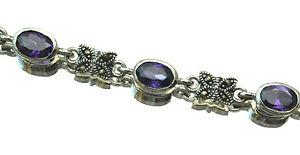 Butterfly Necklace Marcasite Sterling Silver 925 Amethyst Garnet Clear CZ