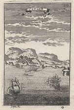 1683 View of Las Palmas Gran Canaria 17th Century Engraving Print Mallet