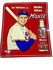 """Ted Williams Says Make Mine Moxie Vintage 11"""" x 13"""" Desperate Sign Co. Metal"""